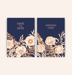 Bundle of floral templates for save the date card vector
