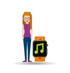 Cartoon girl smart watch app music vector