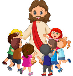 cartoon jesus christ being surrounded by children vector image