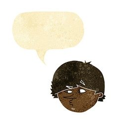 cartoon suspicious man with speech bubble vector image