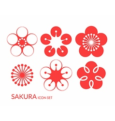 Cherry blossom Sakura Icon set vector image