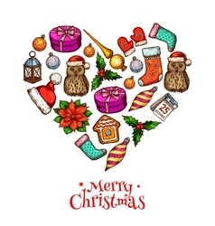 Christmas heart with xmas sketches poster design vector image
