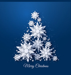 christmas tree made paper snowflakes vector image