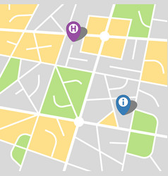 City map of an imaginary city with two pins vector