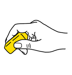 Close up hand using yellow rubber eraser vector