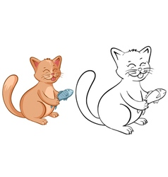 Coloring book page for kids with funny cartoon cat vector image