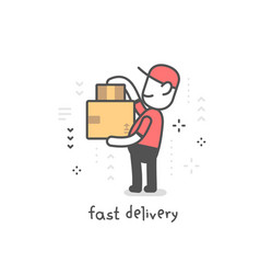 creative of delivery happy man in red uniform vector image