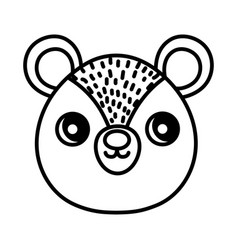 cute bear head character cartoon thick line vector image