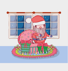 cute christmas santa claus with bag in the house vector image