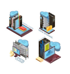 Data cloud service isometric concept vector