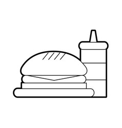 Delicious burger with sauce bottle vector