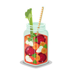 Detox refreshing healthy cocktail made vegetables vector