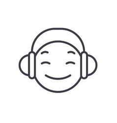 dj emoji concept line editable concept vector image