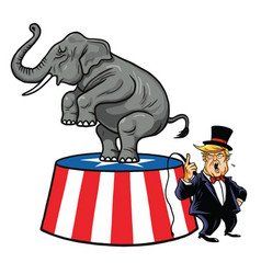 Donald trump and republican elephant cartoon vector