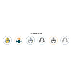 durga puja icon in filled thin line outline and vector image