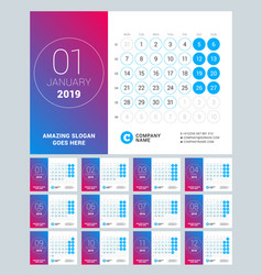 Esk calendar for 2019 year set of 12 pages design vector