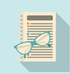 Eyeglasses and paper management icon flat style vector