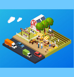Farm food isometric background vector