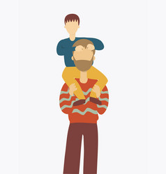 Father carrying his son on shoulders vector