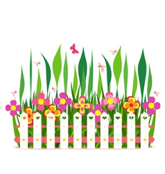 Fence with spring flowers vector