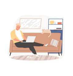 Freelancer guy sitting on couch working remotely vector