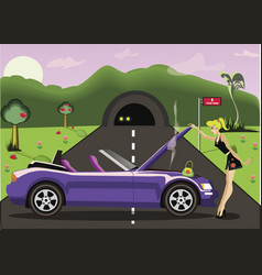 Girl on the road concept vector