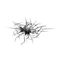 Ground hole with crack isolated on white vector