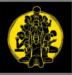 group prayer christian praying together vector image