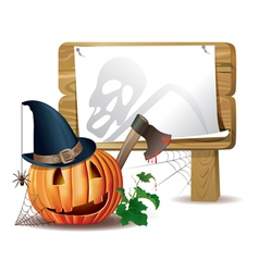 Halloween wooden board vector image