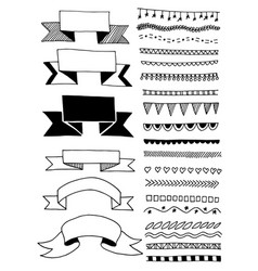 hand drawing sketch doodle ribbon and stripe vector image