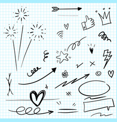 hand drawn set elements arrow heart love vector image