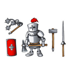Hand drawn sticker knights colored doodle weapons vector