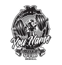 Hand dumbbell logo fitness gym vector
