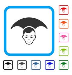Head umbrella framed glad icon vector