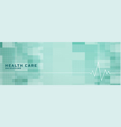 Healthcare and medical banner with heartbeat line vector