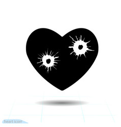 heart black icon love symbol bullet holes vector image
