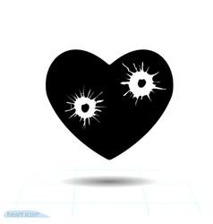 Heart black icon love symbol bullet holes vector