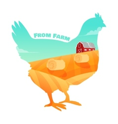 hen with farm background inside concept fresh vector image