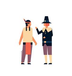 Indian native american men thanksgiving day vector