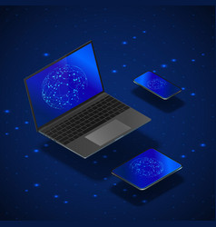 isometric gadgets mock up set realistic laptop vector image