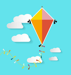 kite on blue sky with clouds vector image