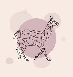 Lama side view geometric style vector