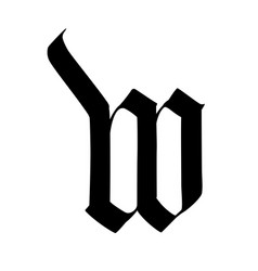 Letter w in gothic style alphabet symbol vector