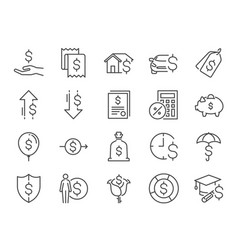 Loan and interest icon set vector