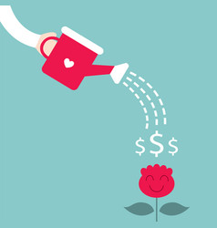 man watering the dollar plant growing money tree vector image