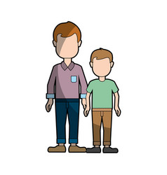 Man with casual cloth and his son icon vector
