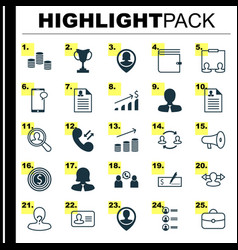 Management icons set collection anonymous vector