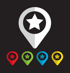 map pointer star icon vector image