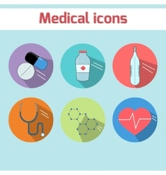 Medical icons color version vector