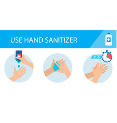 Medical infographic - how to use hand sanitizer vector